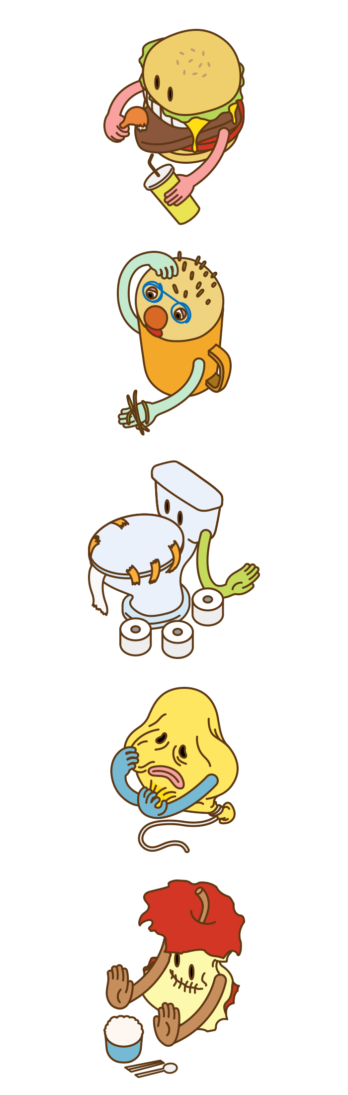 인포그래픽 활용 캐릭터 디자인 _ 다이어트 부작용